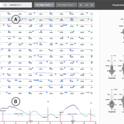 Temporal event sequence visualization for type 1 diabetes clinician decisions support